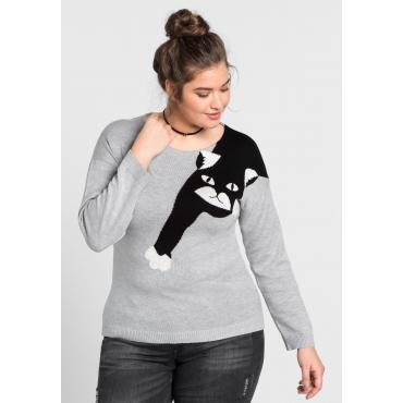 Große Größen: Pullover mit Katzenmotiv, grau meliert, Gr.44/46-56/58