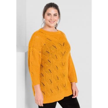 Große Größen: Pullover mit leichtem Lochstrick, curry, Gr.44/46-56/58