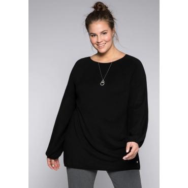 Große Größen: Pullover mit leichten Ballonärmeln, schwarz, Gr.44/46-56/58