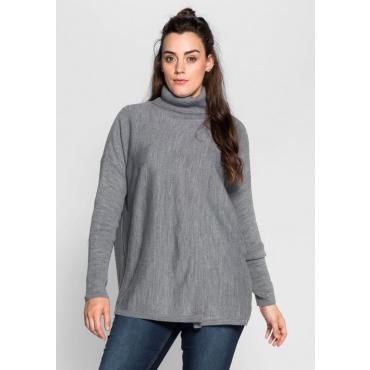 Große Größen: Pullover mit offenen Schlitzen, grau meliert, Gr.40/42-56/58