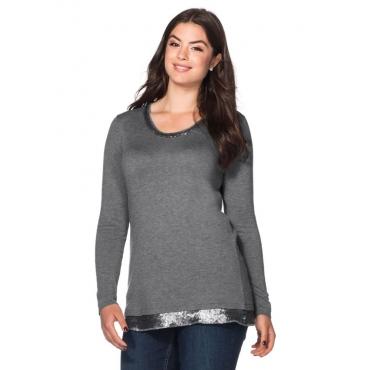 Große Größen: Pullover mit Pailletten, grau meliert, Gr.40/42-56/58