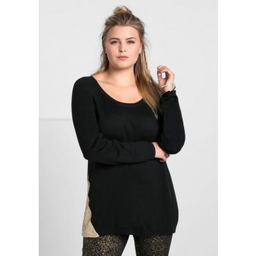Große Größen: Pullover mit Pailletten, schwarz, Gr.40/42-56/58
