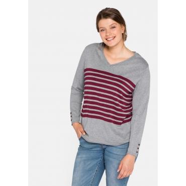 Pullover mit Ringelmuster und V-Ausschnitt, grau meliert, Gr.44/46-56/58