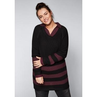 Große Größen: Pullover mit Ringeln, schwarz gemustert, Gr.44/46-56/58