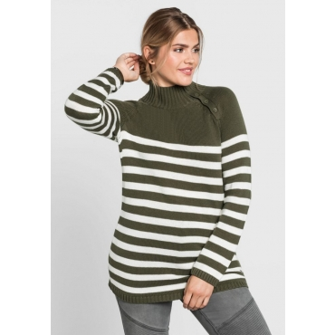 Große Größen: Pullover mit Ringeln, weiß-khaki, Gr.40/42-56/58