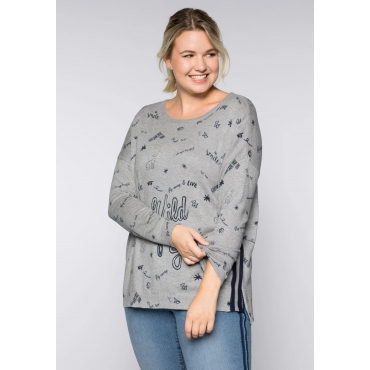 Große Größen: Pullover mit Rippbündchen, grau meliert, Gr.44/46-56/58
