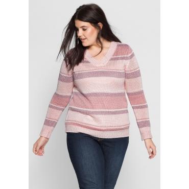 Große Größen: Pullover mit Rippstrickbündchen, cremerosé bedruckt, Gr.40/42-56/58