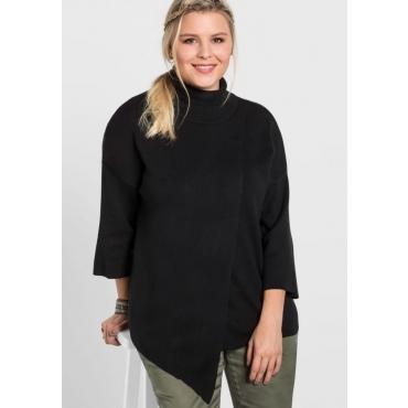 Große Größen: Pullover mit Rollkragen, schwarz, Gr.40/42-56/58