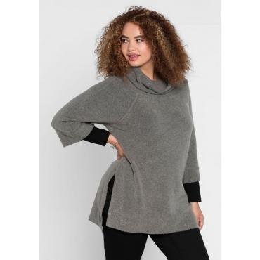 Große Größen: Pullover mit Rollkragen, steingrau, Gr.40/42-56/58