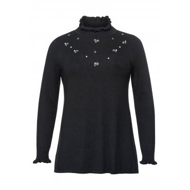 Große Größen: Pullover mit Schmucksteinen und Perlen, schwarz, Gr.44/46-56/58