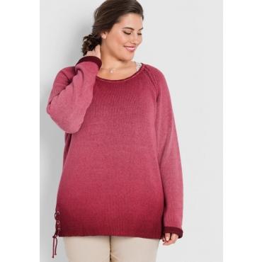 Große Größen: Pullover mit Schnürung, bordeaux, Gr.44/46-56/58