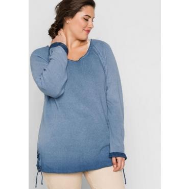 Große Größen: Pullover mit Schnürung, rauchblau, Gr.44/46-56/58