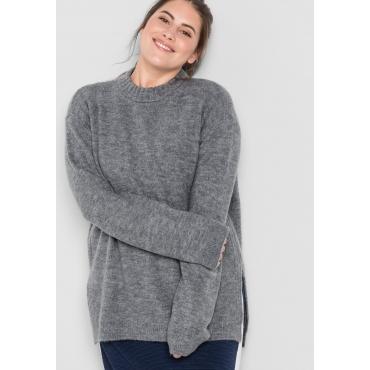 Große Größen: Pullover mit Seitenschlitzen, grau meliert, Gr.44/46-56/58