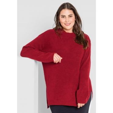 Große Größen: Pullover mit Seitenschlitzen, mohnrot, Gr.44/46-56/58