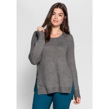 Große Größen: Pullover mit seitlichen Schlitzen, dunkelgrau meliert, Gr.40/42-56/58