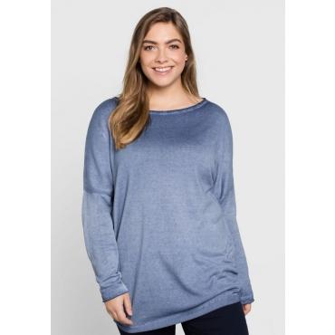 Große Größen: Pullover mit seitlicher Raffung, rauchblau, Gr.44/46-56/58
