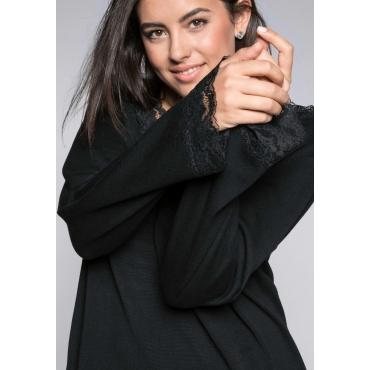Große Größen: Pullover mit Spitze an Ausschnitt und Ärmeln, schwarz, Gr.44/46-56/58