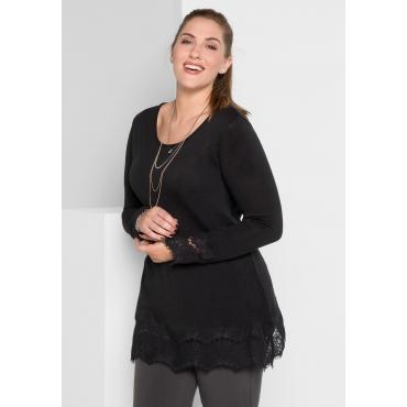 Große Größen: Pullover mit Spitze, schwarz, Gr.40/42-56/58