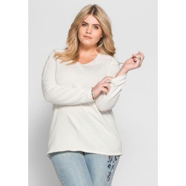 Große Größen: Pullover mit Spitzenbesatz, offwhite, Gr.40/42-56/58