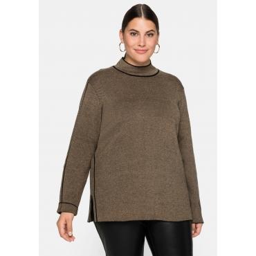 Pullover mit Stehkragen und Kontraststreifen, sand, Gr.44/46-56/58