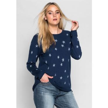 Große Größen: Pullover mit Sternen, marine, Gr.40/42-56/58