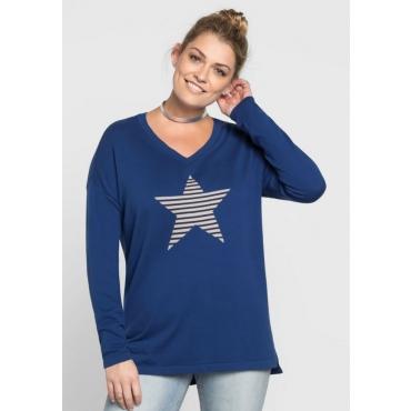 Große Größen: Pullover mit Sternmotiv, indigo, Gr.40/42-56/58