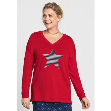 Große Größen: Pullover mit Sternmotiv, mohnrot, Gr.40/42-56/58