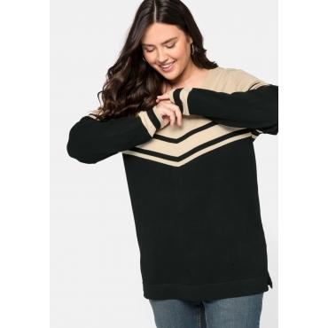 Pullover mit Streifen, in Feinstrickqualität, schwarz, Gr.44/46-56/58