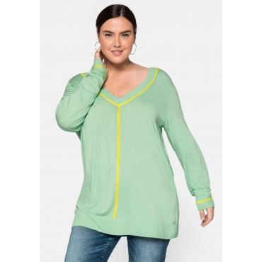 Pullover mit tiefem V-Ausschnitt und Kontraststreifen, pudergrün, Gr.44/46-56/58
