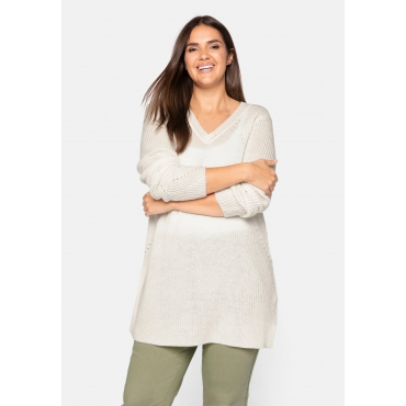 Pullover mit V-Ausschnitt, in Perlfang-Struktur, offwhite, Gr.44/46-56/58