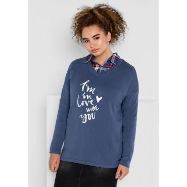 Große Größen: Pullover mit V-Ausschnitt, rauchblau, Gr.40/42-56/58
