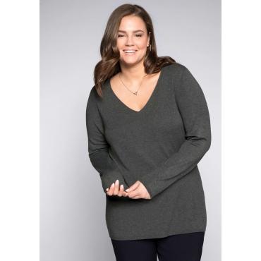 Große Größen: Pullover mit V-Ausschnitt und sheego-Applikation, grau meliert, Gr.44/46-56/58