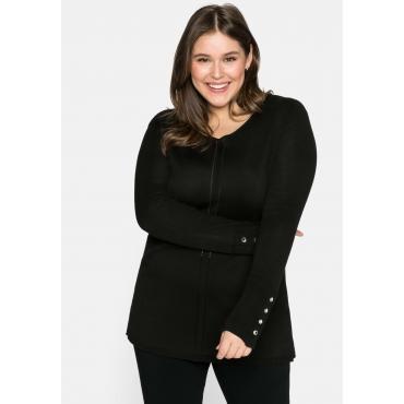 Pullover mit V-Ausschnitt und Zierknöpfen, schwarz, Gr.44/46-56/58