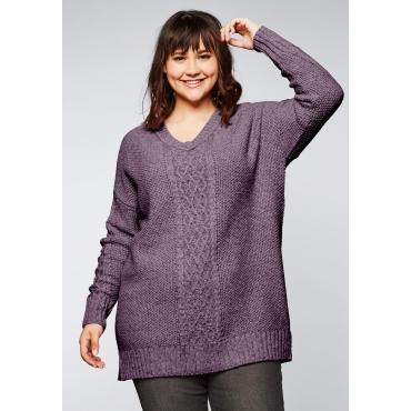 Große Größen: Pullover mit V-Ausschnitt und Zopfmuster, mauve, Gr.44/46-56/58