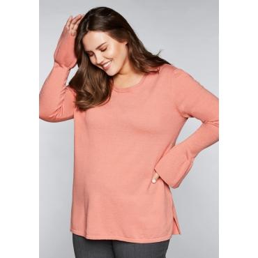 Große Größen: Pullover mit Volantärmeln, lachs, Gr.44/46-56/58