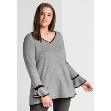 Große Größen: Pullover mit Volantärmeln, rauchgrau meliert, Gr.44/46-56/58
