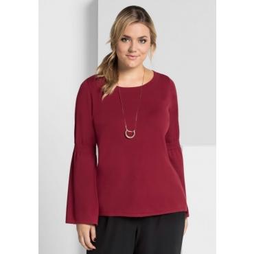 Große Größen: Pullover mit Volantärmeln, rubinrot, Gr.40/42-56/58