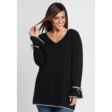 Große Größen: Pullover mit Volantärmeln, schwarz, Gr.44/46-56/58