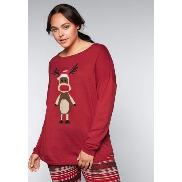 Große Größen: Pullover mit Weihnachtsmotiv, karminrot, Gr.44/46-56/58