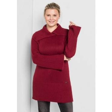 Große Größen: Pullover mit weitem Kragen, bordeaux, Gr.40/42-56/58