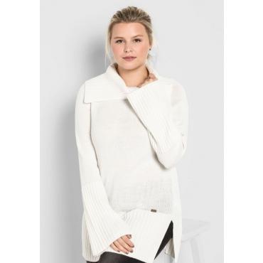 Große Größen: Pullover mit weitem Kragen, offwhite, Gr.40/42-56/58