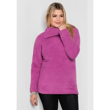 Große Größen: Pullover mit weitem Kragen, pink, Gr.40/42-56/58