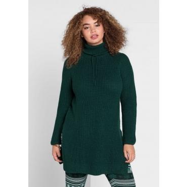 Große Größen: Pullover mit weitem Rollkragen, tiefgrün, Gr.40/42-56/58