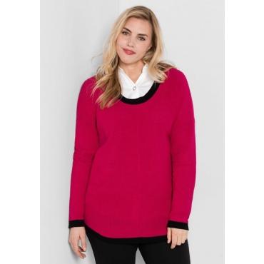 Große Größen: Pullover mit weitem Rundhalsausschnitt, dunkelpink, Gr.44/46-56/58