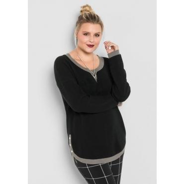 Große Größen: Pullover mit weitem Rundhalsausschnitt, schwarz, Gr.40/42-56/58