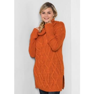 Große Größen: Pullover mit Zopfstrick-Muster, kürbis, Gr.40/42-56/58