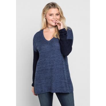 Große Größen: Pullover mit zweifarbigem Strickmuster, rauchblau, Gr.40/42-56/58