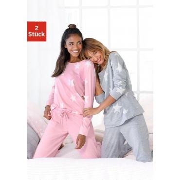 Große Größen: Pyjama, grau+rosa, Gr.40/42-56/58