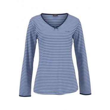 Große Größen: H.I.S Gestreifter Pyjama mit leicht ausgestelltem Hosenbein, blau+marine, Gr.40/42-56/58