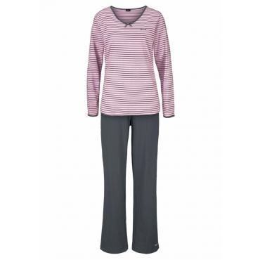 Große Größen: H.I.S Gestreifter Pyjama mit leicht ausgestelltem Hosenbein, hellpink+anthrazit, Gr.40/42-56/58